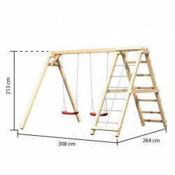 outiror Balancoire double Felix avec mur escalade et rampe en filet 207601210086 3