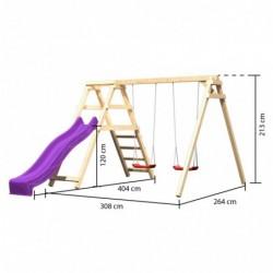 outiror Kit Balancoire double Felix avec mur escalade toboggan vagues violet 207601210087 3