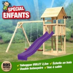 outiror KitB Tour de jeu Lotti toboggan vagues violet double balancoire 207601210107