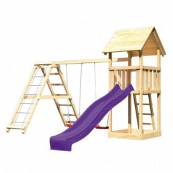 outiror KitC Tour de jeu Lotti toboggan vagues violet double balancoire mur escalade 207601210111 2