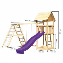 outiror KitC Tour de jeu Lotti toboggan vagues violet double balancoire mur escalade 207601210111 3