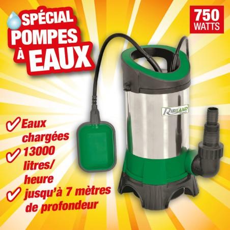 POMPE VIDE CAVE EAUX CHARGEES 750W INOX BASE PLAST+FLOTTEUR