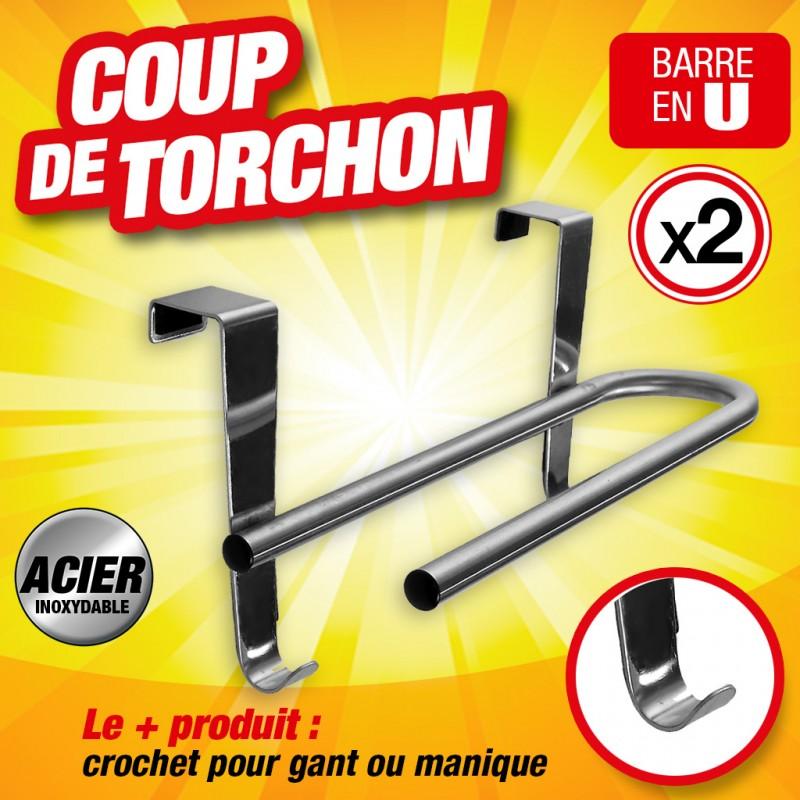 BARRES TORCHONS U + 2 CROCHETS lot de 2 barres