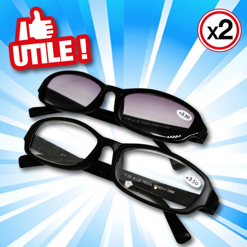 outiror : lunettes de lecture en verre dioptrique 2 pieces