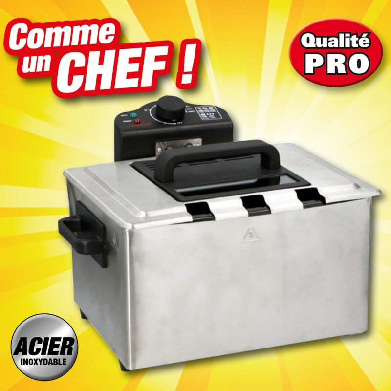 outiror friteuse electrique professionnelle acier inoxydable 3 paniers 77010180009