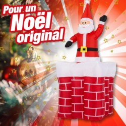 outiror pere noel gonflable dans cheminee 76010180011