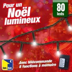 outiror - guirlande 80 led couleur blanche