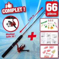 outiror - Kit de pêche avec accessoires 66 pcs