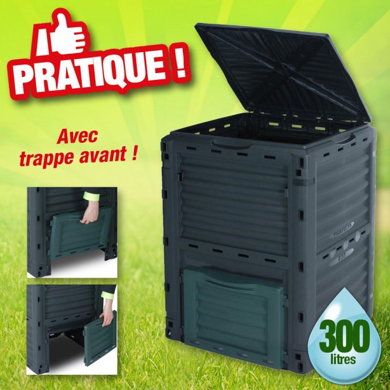 outiror - bac de compostage 300 litres avec trappe avant