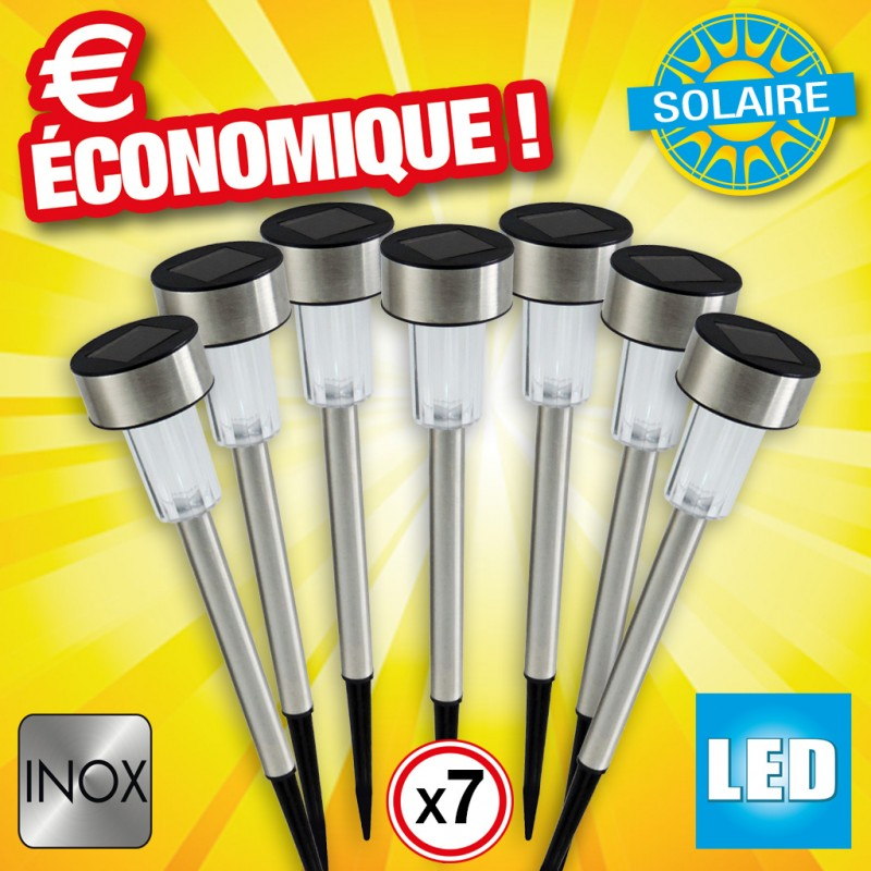 outiror - Bornes solaire inox lot de 7 pcs