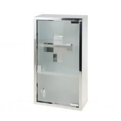 outiror - armoire à pharmacie métallique porte en verre trempé et clés pour fermeture