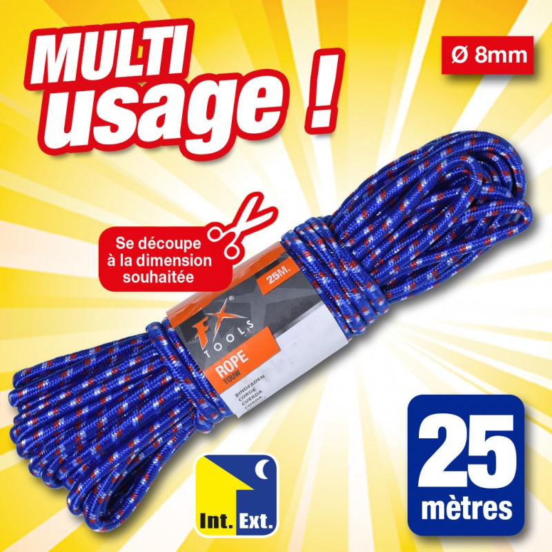 outiror - corde, multi usage, 25 mètres