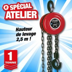 outiror palan manuel a chaine 1t levage 2 5m 135011180019