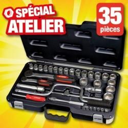 outiror coffret cliquet 27 douilles 6 pans 35 pieces 134011180026