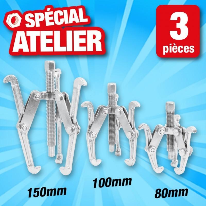 outiror lot de 3 extracteurs a griffes 80 100 150mm 134011180027