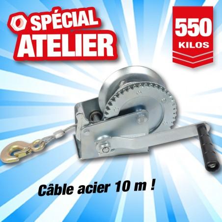 outiror treuil manuel tambour 550 kg cable acier 10m