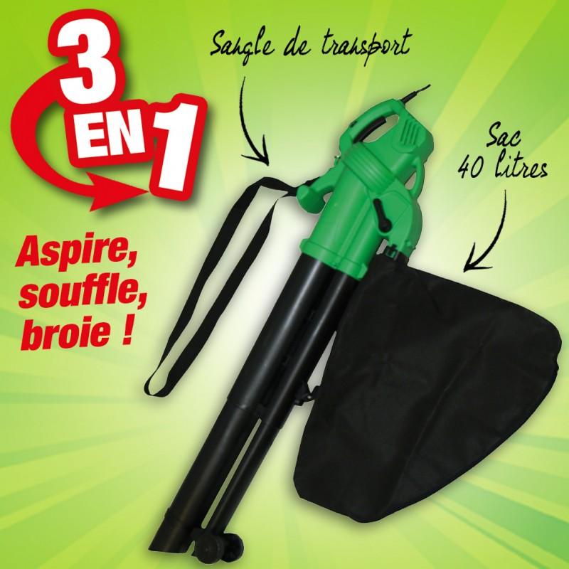 outiror aspirateur souffleur broyeur rdy2600asb 2600w vitesse variable avec sac 40l et sangle