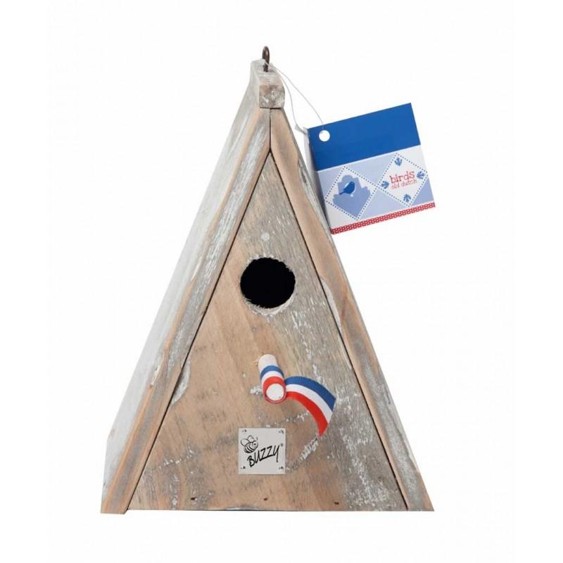nichoir triangulaire en bois blanchi
