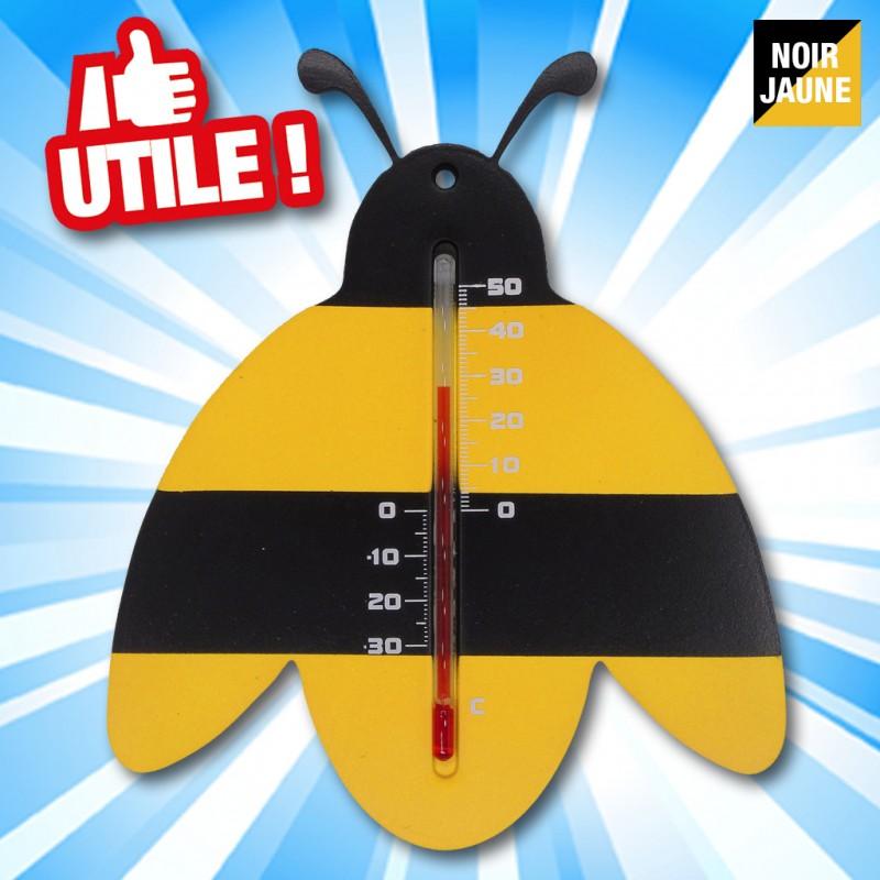 Outiror - Thermomètre mural d'extérieur en plastique noir/jaune, Abeille