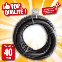 """Outiror - Tuyau de raccord cannelé renforcé noir - Ø40 mm (1½"""") x 5 m"""