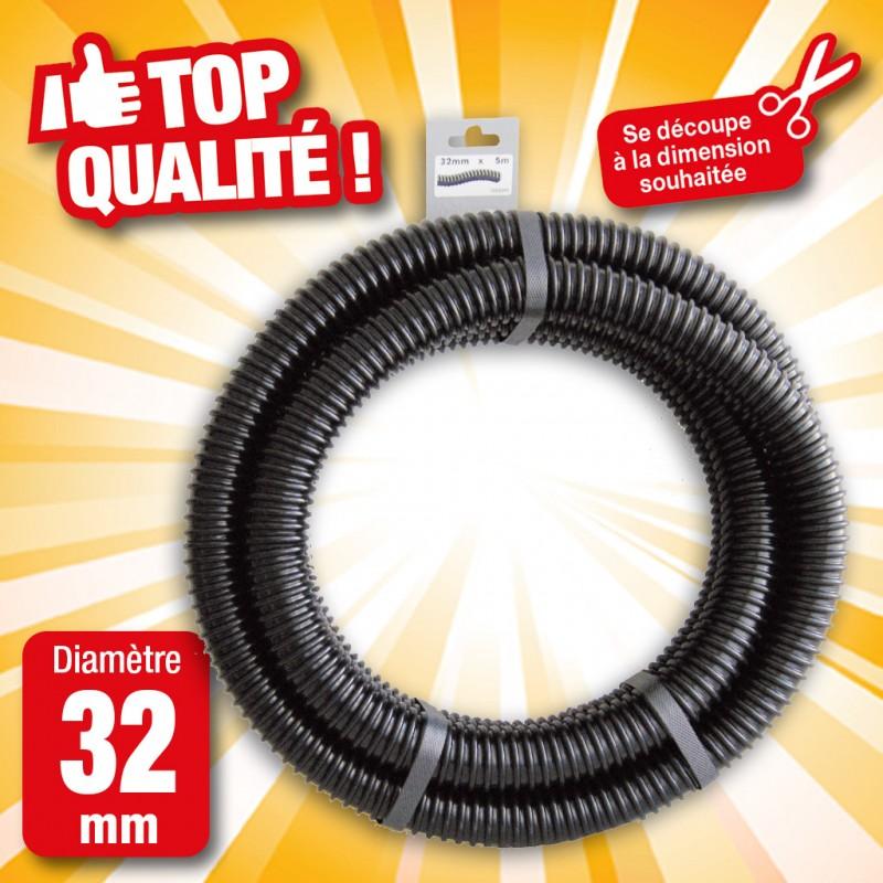 """Outiror - Tuyau de raccord cannelé renforcé noir - Ø32 mm (1¼"""") x 5 m"""