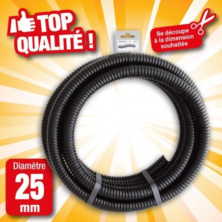 """Outiror - Tuyau de raccord cannelé renforcé noir - Ø25 mm (1"""") x 5 m"""