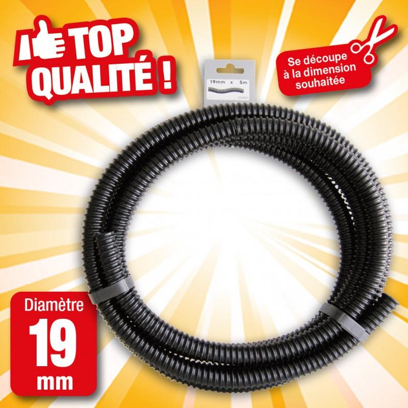"""Outiror - Tuyau de raccord cannelé renforcé noir - Ø19 mm (¾"""") x 5 m"""