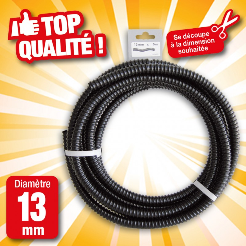 """Outiror - Tuyau de raccord cannelé renforcé noir - Ø13 mm (½"""") x 5 m"""
