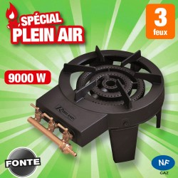 Outiror - rechaud gaz 8,6kw 3 robinets 4 pieds, 3 rampes, 3 feux