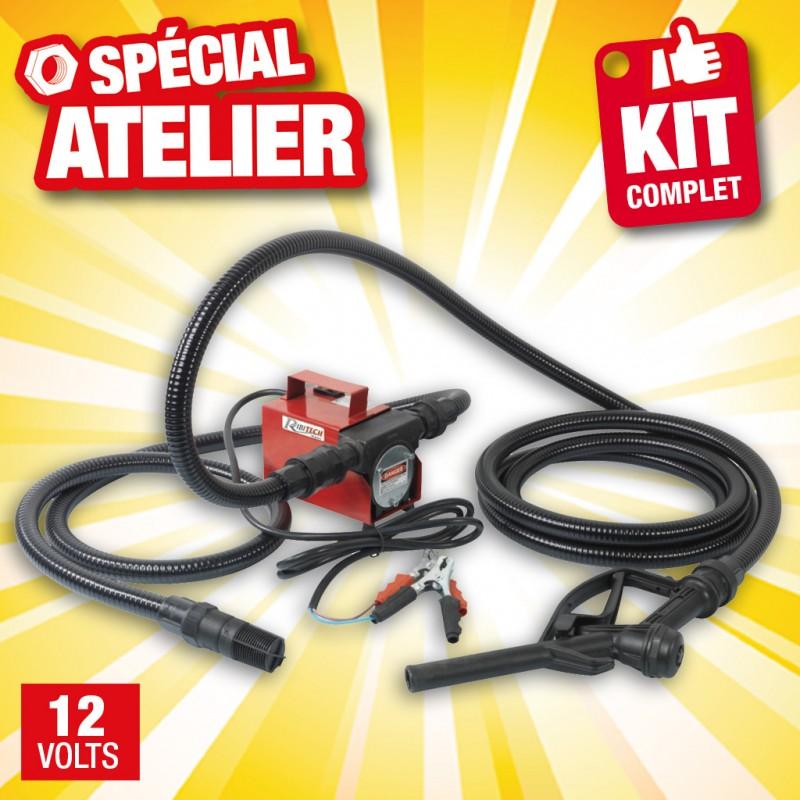 Outiror - kit pompe gasoil 12v 40l/min + tuyau + crepine et pistolet