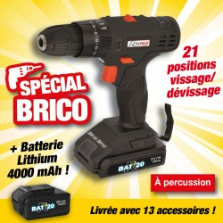 "outiror perceuse-visseuse a percussion ""r-bat20"" batterie 20v 2amp"