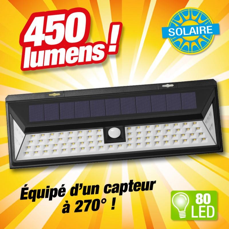 projecteur solaire detecteur de mouvement 80led. Black Bedroom Furniture Sets. Home Design Ideas