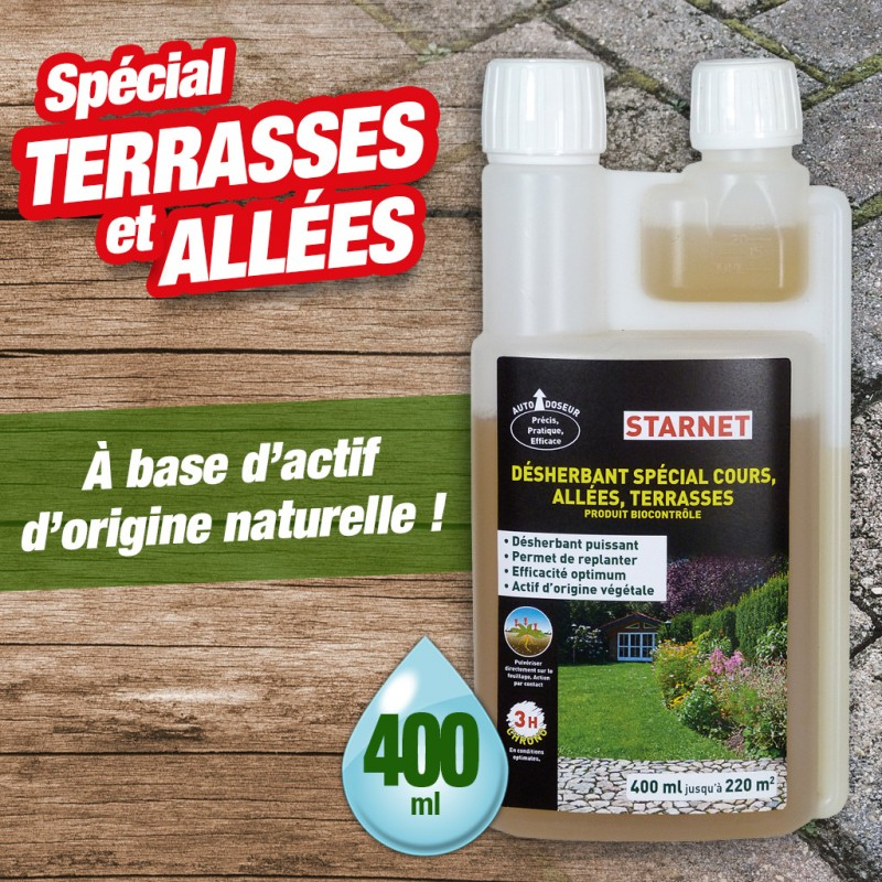 Outiror - Desherbant bio contrôle ultra concentre 400ml cours allees terrasses