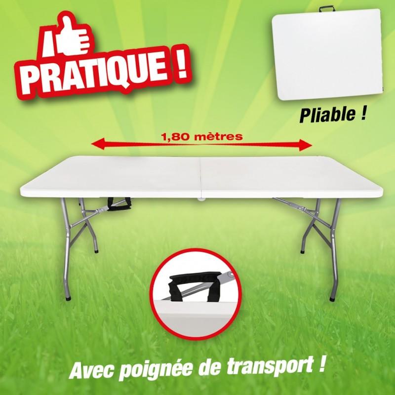 Table pliante en résine182 cm de long 74 cm de large avec poignée de  transport