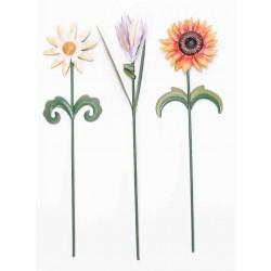 3 fleurs métal + tiges