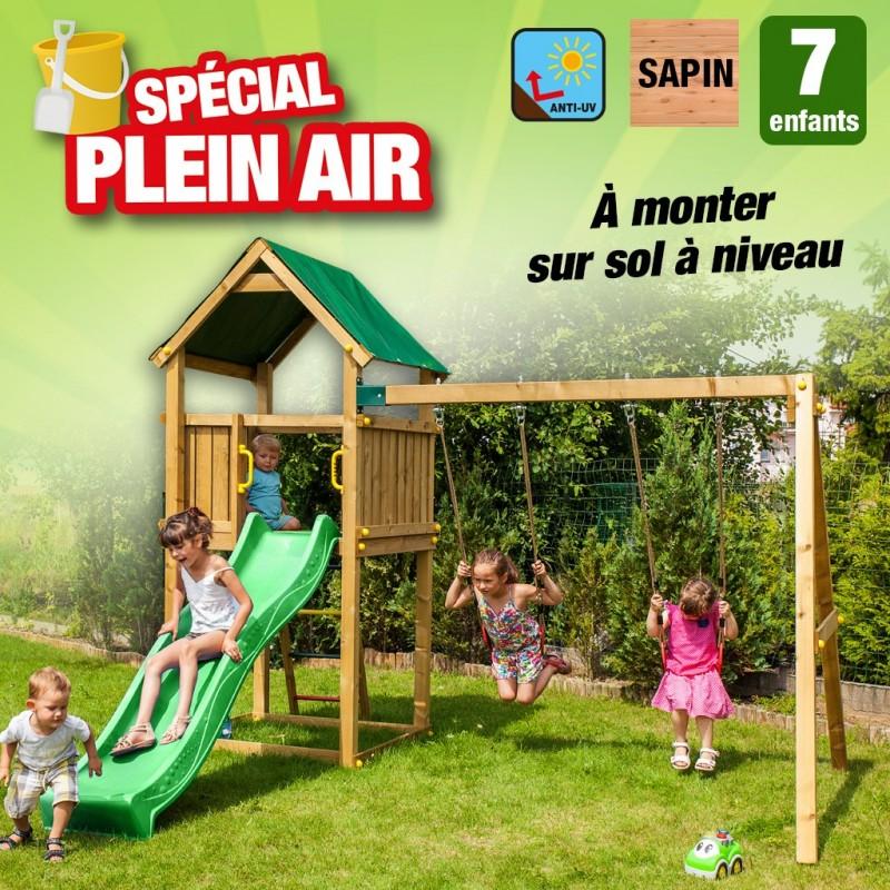 outiror Aire de jeu maisonnette jardin bois Pollux 176009190031