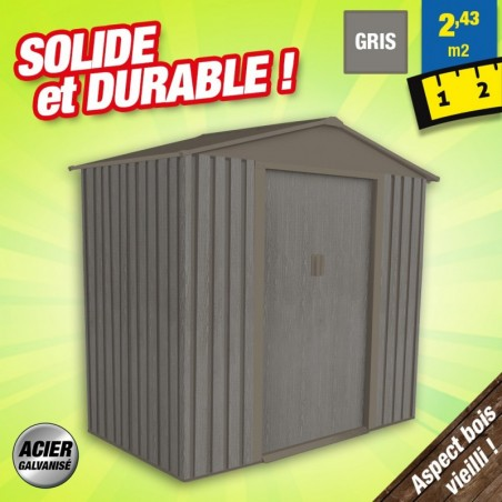 outiror Abri jardin metal Bois vieilli 64 2 4 m2 gris 176009190097