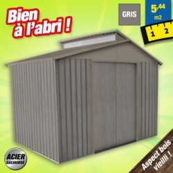 outiror Abri jardin metal Bois vieilli 9363 5 4 m2 gris 176009190100