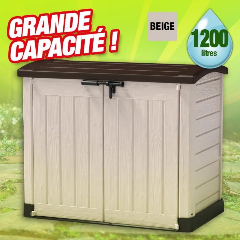 Coffre de rangement extérieur en résine - 1200 litres - toit bombé - 1200L  - colori beige