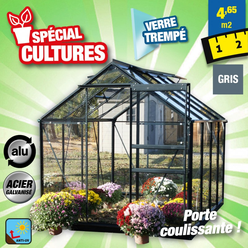 outiror Serre jardin verre trempe anthracite 176009190064